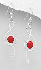 """2.6g Sterling Silver 1.9"""" Dangling Genuine NATURAL Red Music Note Coral Earrings"""