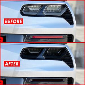 FOR 14-19 Chevy Corvette C7 Tail Light & Rear Reflector SMOKE Vinyl Tint Overlay