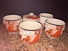 Vtg./Antique Imari/Kutanani/Satsuma Orange Flowers/ Birds Signed Tea Cups (5)