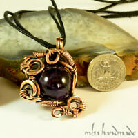 Amethyst Crystal Pendant Antiqued Copper Wire Wrapped Natural Gemstone Jewelry