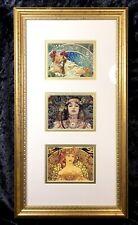 """Alphonse Mucha Art Deco Art Nouveau Matted Framed Print 3 Beautiful Women 8""""x15"""""""