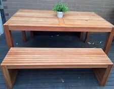 Table and Bench Set Outdoor Garden BBQ Eucalyptus Wooden Timber Furniture 3Piece