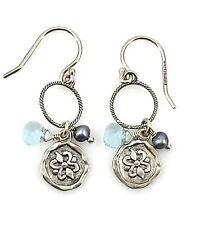 """Silpada Sterling Silver Pearl """"Charmed I'm Sure"""" Wire Earrings W2370"""