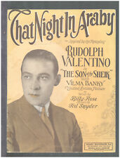 Son Of The Sheik 1926 That Night In Araby VALENTINO Silent Film Sheet Music