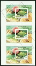 Zaire 1980 Tropical Fish SS imperf proof strip of 3 -3