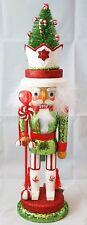 "Christmas Tree Soldier Nutcracker Green Red White 18"" Wood Kurt Adler Hollywood"