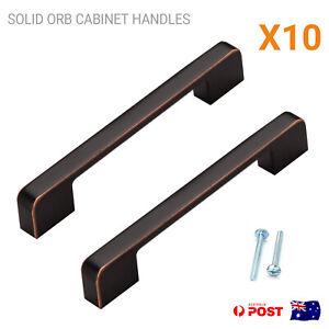 Kitchen Cabinet Handles Pulls Black Square Bar Cupboard Drawer 96mm 128mm ORB
