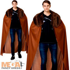 Brown Cape with Fur Collar Mens Fancy Dress Medieval Adult Costume Accessory New