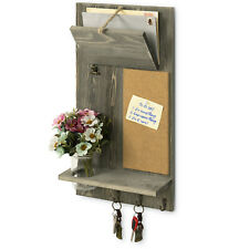 MyGift Vintage Gray Wood Wall Mounted Entryway Mail Sorter Rack with Cork Board