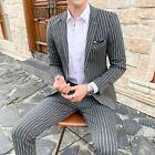 Classic Men's Wedding dress Business Striped Suit 2Pcs Prom Jacket Pants Blazers