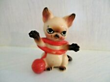 Vintage Siamese Cat Figurine Playing with Yarn Adorable Anthropomorphic
