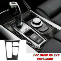 Carbon Fiber Gear Shift Box Panel Cover Trim Black For BMW X6 E71 2008 2009 New