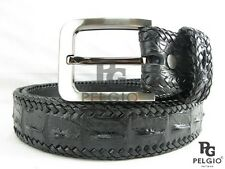 "PELGIO Genuine Crocodile Alligator Skin Leather Handmade Belt 46"" Long Black New"