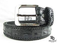 "PELGIO Genuine Crocodile Alligator Hornback Skin Leather Handmade Belt 40"" Black"