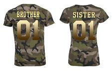 "Partner Camouflage T-Shirt SET ""BROTHER & SISTER"" mit WUNSCHZAHL king queen bff"