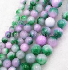 "New 6/8/10mm Natural Smooth Lavender Green Jade Round Gemstone Loose Beads 15"""