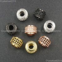 Zircon Gemstone Pave 3 Rows Rondelle 6x7mm Spacer Connector Charm Beads Silver