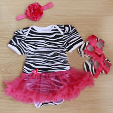 Baby Girls Tutu Dress + Headband + Shoes Jumpsuit Romper Newborn Outfits Clothes