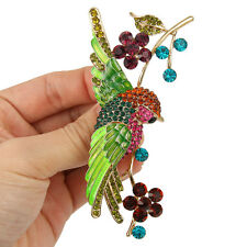 Parrot Bird Animal Flower Brooch Pin Multi Austrian Crystal Gold GP Women Gift