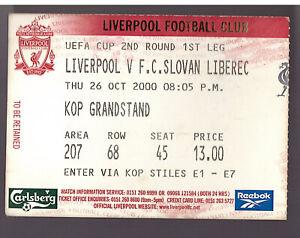 LIVERPOOL V FC SLOVAN LIBEREC 2000/01 UEFA CUP MATCH TICKET - 26/09/1995