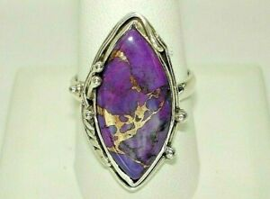 AB One-of-a-Kind Large Purple Turquoise Copper Vein .925 Sterling Silver Ring 10