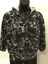 Billabong Women's Hoodie Zip Black Lace Flowers Size Small Three-Quarter Sleeves