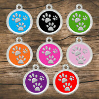 Stainless Steel Enamel Pet ID Tags Designers Round Paws