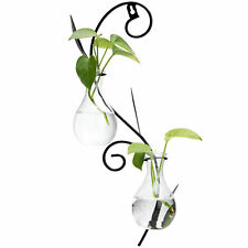 Decorative Wall-Mounted Scrollwork Metal Sconce with 2 Flower Glass Bulb Vases