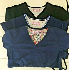 Koi By Kathy Peterson Womens Small Scrubs Tops Lot of 3 / 2 Blue 1 Black Size S