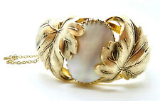 Art Deco WHITING & DAVIS, Co Mother of Pearl Shell  Hinged Bracelet