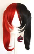 18'' Pig Tails Part Long Bangs Red Black Split Wig Cosplay Harley Quinn