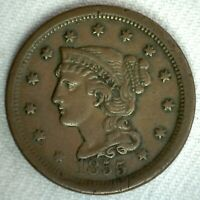 1855 Braided Hair US Large Cent Coin 1c US Coin XF Extra Fine Circulated Penny