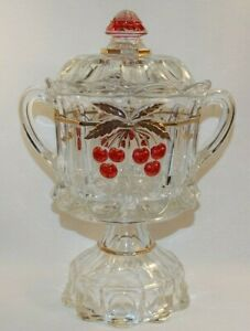 MOSSER GLASS NORTHWOOD CHERRY & CABLE HUGE COVERED COMPOTE CANDY DISH STEMMED