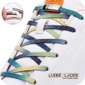 Lazee Laces™ No-Tie Shoelaces Bright Shiny, Solid, Gradient and Rainbow Colors