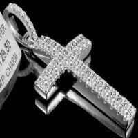 "Men's 2"" Solid Sterling Silver White Gold Tone Designer Cross Charm Pendant New"