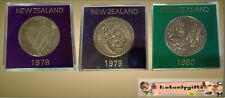 Trio of Cased New Zealand Cupro-Nickel One Dollars 1978, 79, 80
