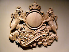 """Red Mahogany Lion Crest Coat Of Arms  27-3/4"""" x 25"""" Wall Plaque"""