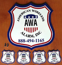 3color AMERICAN WIRELESS ALARM HOME SECURITY SYSTEM YARD SIGN & 4 DECAL STICKERS