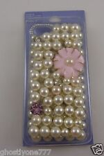 for Iphone 5 phone case bling pink flower white faux pearl beads