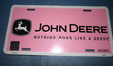 John Deere tractor field pink truck tag license plate country farmer girl sign