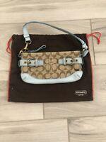 Coach L05K-5107 Light Blue Leather / Canvas Hobo Shoulder Bag Small Vintage