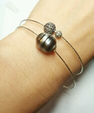 Huge 13mm Tahitian grey Black pearl bracelet 925 silver .4ct diamond bangle