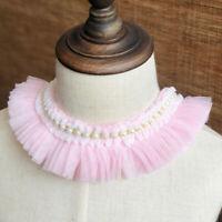 1Yard Pleated Chiffon Lace Ruffle Beaded Ribbon Trim Collar Lace Sewing Supplies