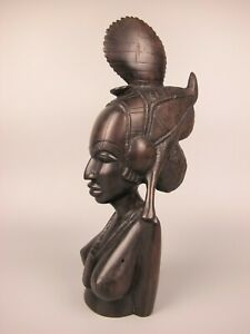 Superb antique African Wood Sculpture Carving of Fulani (Peul) Woman, Guinea