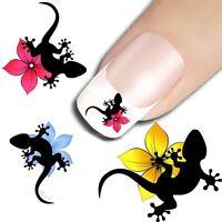 15 sticker ongles nail art decoration ongle stickers animaux lézard salamandre