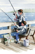 BROTHERS FISHING Art Print 11 x 14 Watercolor by Artist DJR w/COA