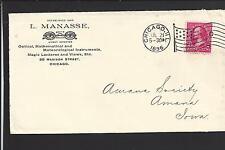 CHICAGO, ILLINOIS 1896 COVER ADVT. L. MANASSE, OPTICAL,MATHEMATICAL,INSTRUMENTS.