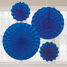 ROYAL BLUE PRINTED GLITTER FAN DECORATIONS (4) ~ Birthday Party Supplies Wedding