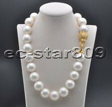 """D0317 20"""" 20mm White Black Round SOUTH SEA SHELL PEARL NECKLACE CZ Cougar"""