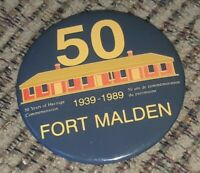 Canada Ontario Amherstburg Fort Malden Museum 50 year PIN PINBACK BUTTON 1939-89